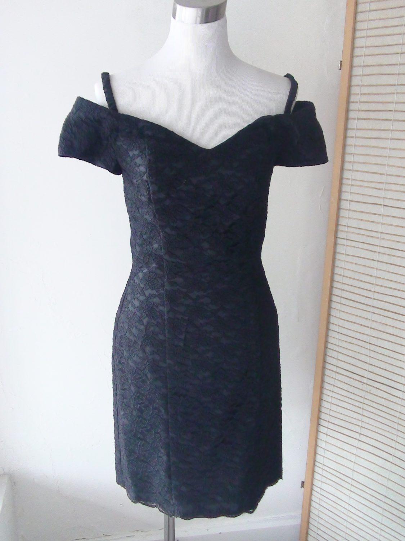 324bb03c3c16a Black Lace 1980s Short Off The Shoulder Dress